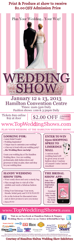 Bridal Guide Hamilton Halton Wedding Show Taking Place January 12 Amp 13 2013 At The Hamilton